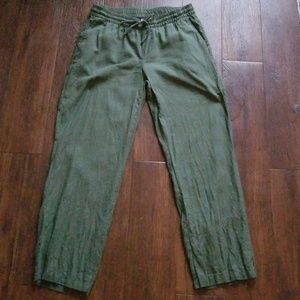 FINAL Old Navy linen olive pant bottoms M